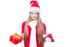 Beautiful woman holding a present Stock Photos