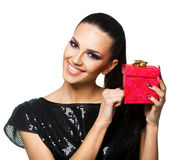Beautiful woman holding a  present Stock Photos