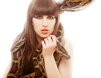 Beautiful woman holding Python Royalty Free Stock Photos