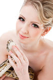 Beautiful woman holding Python on isolated white Stock Photos