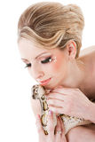 Beautiful woman holding Python on isolated white Royalty Free Stock Photos
