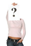 Beautiful woman holding question mark Stock Image