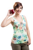 Beautiful woman holding a red apple Royalty Free Stock Photos