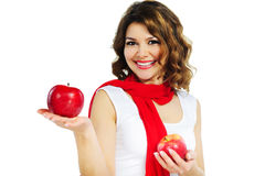 Beautiful woman holding red apple isolated on white Royalty Free Stock Photo