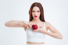 Beautiful woman holding red apple Royalty Free Stock Photography