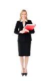 Beautiful Woman Holding Red Folder Stock Photography