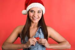 Beautiful woman holding red heart Stock Photo