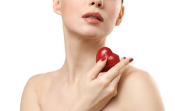 Beautiful woman holding red heart. Royalty Free Stock Photos