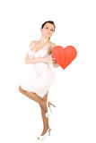 Beautiful woman holding red heart Royalty Free Stock Photos