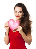 Beautiful woman holding red love heart. Stock Photos