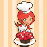 Beautiful Woman Holding a Red Velvet Cupcake stock illustration