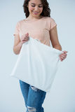 Beautiful woman holding shopping bag Stock Images