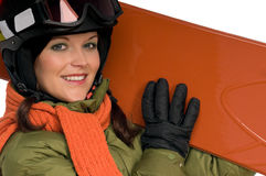 Beautiful woman holding snowboard Stock Photo