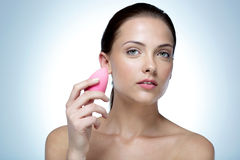 Beautiful woman holding soap Stock Images