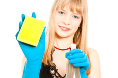 Beautiful woman holding sponge Stock Image