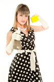 Beautiful woman holding sponge Royalty Free Stock Image