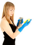 Beautiful woman holding sponge Stock Photos