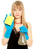 Beautiful woman holding sponge Stock Photos