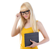 Beautiful woman holding tablet Stock Photo