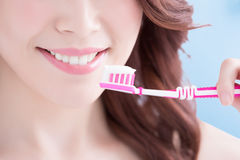 Beautiful woman holding tooth brush Royalty Free Stock Photography