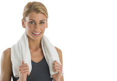Beautiful Woman Holding Towel Around Her Neck Stock Photo