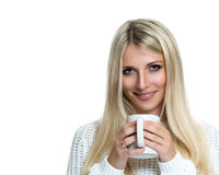 Beautiful woman holding white cup Royalty Free Stock Images