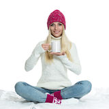 Beautiful woman holding white cup Royalty Free Stock Photos