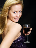 Beautiful woman holding wine Royalty Free Stock Image