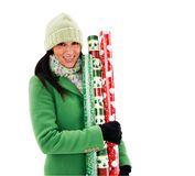 Beautiful woman holding wrapping paper Stock Photo