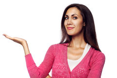 Beautiful Woman Holding Your Product Stock Photography