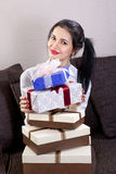 Beautiful woman holds boxes Stock Photo