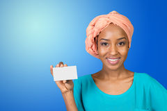 Beautiful woman holds a business card Stock Images