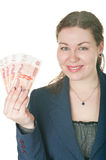 Beautiful woman holds cash Stock Photos
