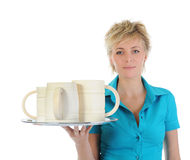 Beautiful woman holds a large wooden beer mug. Royalty Free Stock Photos