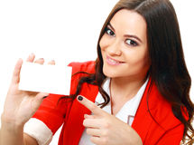 Woman holds card Royalty Free Stock Images
