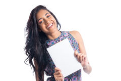 Beautiful woman holds a rectangle upright. Smiling. Black brazil Royalty Free Stock Photo
