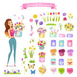 Beautiful Woman Holds Spring Bouquet in Round Box Royalty Free Stock Photography