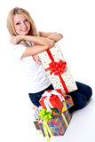 Beautiful woman with holiday gift Stock Photos