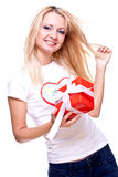 Beautiful woman with holiday gift Royalty Free Stock Photo