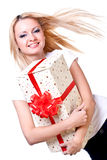 Beautiful woman with holiday gift Stock Image