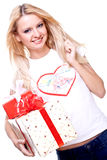Beautiful woman with holiday gift Royalty Free Stock Image