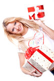 Beautiful woman with holiday gift Royalty Free Stock Photography