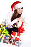 Beautiful woman with holiday gift Stock Images
