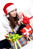 Beautiful woman with holiday gift Royalty Free Stock Photos