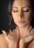 Beautiful woman with honey mask Royalty Free Stock Images