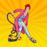 Beautiful Woman Hoovering Room and Listening Music. Housewife with Vacuum Cleaner. Pop Art. Vector. Illustration Stock Photo