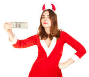 Beautiful woman with horn holding dollar Stock Image