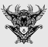 Beautiful woman with horns vector illustration