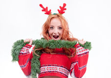 Beautiful woman with horns Royalty Free Stock Images