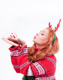 Beautiful woman with horns Stock Image